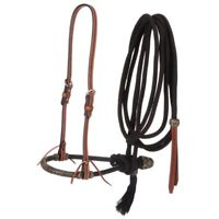 Western Brown Leather Hand Tooled Headstall with Bosal and Mecate Reins