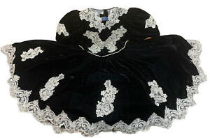 Vintage LIDA California Black Velvet Lace  Pearl Pageant Formal Young Girls US7