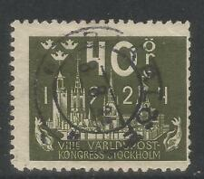 Sweden 1924 Upu Congress 40o olive green-Attractive Topical (204) used