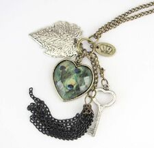 Heart Alloy Metal Pendant Chain Necklace Buy One Get One Free, Peacock Feather