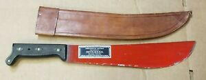 Vintage Collins & Co. Legitimus Red Machete 14in Blade with Leather Sheatb