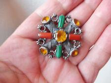 schöne, alte Brosche__925 Silber__mit Malachit , Koralle und Steinen__!