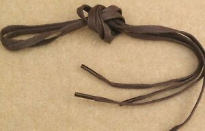 "LACES 8 x Pairs 60 cm 24"" Flat Waxed Cotton 7mm Wide Brown Short For Shoes Boots"