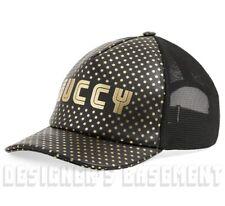 GUCCI black L/59 gold SEGA logo leather & mesh Baseball Hat cap NWT Authen $690!