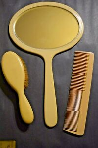 Vintage Cream Celluloid Bakelite Dresser Set, 3 Pieces Mirror, Brush, Comb