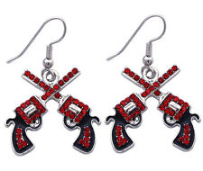 Western Cowboy Cowgirl Double Crossing Revolver Gun Pistol Hook Earrings e9r