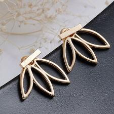 Handmade Gold/Silver On Lotus Ear Jacket Stud Earring - Ear Climber Pins