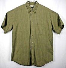 Fieldmaster Men's Shirt LT Short Sleeve Button Down Beige/Green/Orange Checks