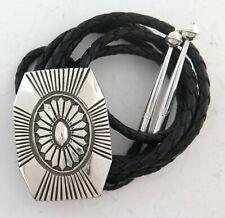 Quality Southwestern Sterling Silver Angular Sunburst Concho Style Bolo Tie