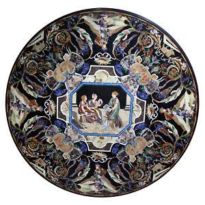"52"" Marble Table Top Pietra dura Art Handmade Inlay Work Home / office Decor"