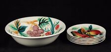 Vintage Large Fruit/Salad Bowl and 5 Matching Plates Hand Painted Mid Century