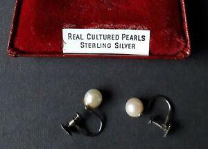 Vintage sterling silver cultured pearl  screw on earrings in original box