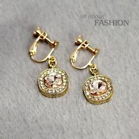 Costume Fashion Earring Stud Gold Green Transparent Crystal Pendant Vintage A1