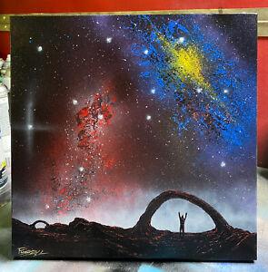 "Markus Fussell Spray Paint Art - ""Destination Complete"" 12"" x 12"" canvas FuSSArt"
