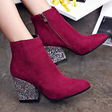 Womens Ladies Sequins Bling Block Mid Heel Pointy Toe Suede Side Zip Ankle Boots