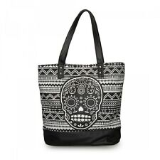 Loungefly Skull Applique Punk Goth Faux Leather Canvas Tote Bag Purse LFTB0531
