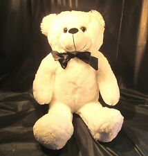 "20"" White Teddy Bear with Black Ribbon - New With Tags"