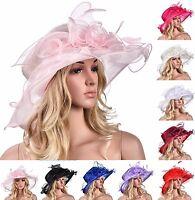 Women Dress Church Wedding Kentucky Derby Wide Brim Feather Sun Floppy Hat A341