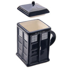 Ceramic Square Police Box Mug with Lid Tardis Type