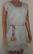 Nude biege boho festival mini feather belt dress small 8 10 BNWT rara crochet