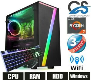 ✅ CS Gaming Desktop PC AMD Ryzen 7 3700X 16GB RAM 1TB HDD 240GB SSD Windows 10 ✅