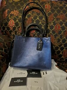 COACH 38823 1941 Rogue Bag 25 Leather Blue Metallic
