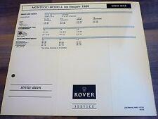 AUSTIN ROVER MONTEGO bis 1988 Service Daten Inspektionsblatt WERKSTATT HANDBUCH
