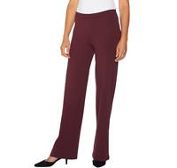 H by Halston Pull-On VIP Ponte Wide Leg Pants Color Bordeaux Size Plus Petite 22