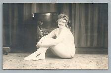 Woman without Pants RPPC Risque Studio Portrait Photo—Antique Lion Chairs 1910s