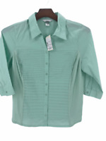 CJ Banks Womens Mint Green Button Front Collared Blouse Shirt Top Size X 14W