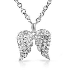 Sterling Silver Signity CZ Angel Wings Womens Necklace
