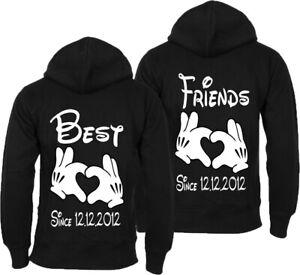 BEST FRIENDS SINCE MIT WUNSCHDATUM Hoodie Pullover mit Kapuze BFF Beste Freunde