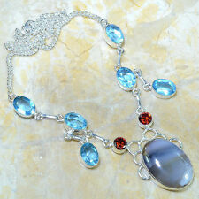 GORGEOUS BLUE TOPAZ+MYSTICAL TOPAZ+AGATE 925 SILVER NECKLACE 20""