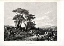 Stampa antica MASSA di SOMMA veduta con Vesuvio e golfo di Napoli 1880 Old print
