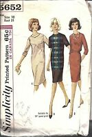 ^Vintage Simplicity Sewing Pattern 1960's Misses Jewel Neckline Dress 5652 10