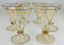 ANTIQUE MOSER BOHEMIAN OPTIC GLASS ENAMEL,GOLD,COBALT BLUE RIM ICE CREAM SET 6