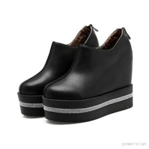Fashion Rhinestone Creepers Ankle Boots Lace Up Shoes Platform Winter Casual