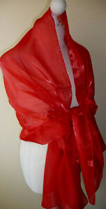 Red Chiffon Shimmery Wrap Stole Shawl Oversized Scarf Soft Feel Lightweight New