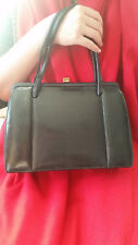 50's vintage black lizard skin leather bag
