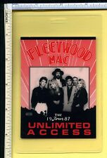 FLEETWOOD MAC 1987 UNLIMITED ACCESS Backstage Pass Laminate; Authentic Used