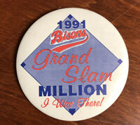 "Vintage Buffalo Bisons Button Pinback 1991 Grand Slam Million ""I Was There"" 3"""