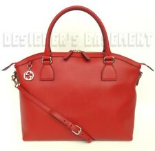 GUCCI red leather XLarge DOME gold GG CHARM convertible TOTE bag NWT Authentic!