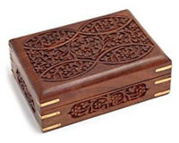 Ajuny Ornate Hand Carved Wooden Tarot Card/Trinket Box with Brass Corners