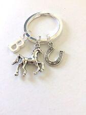 Handmade Silver Horse/Horseshoe Keyring Personalised Gift Birthday Gift