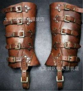 Medieval Renaissance Leg Leather Buckle Strap Wrap Armor Part Warrior Boot Set