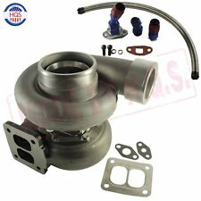 """TURBO CHARGER & OIL FEED & DRAIN LINE For GT45 600+HP T4 T66 3.5""""V-BAND"""