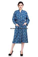 Indian Cotton Block Print Long Kimono Bath Robe Floral Nightdress Handmade Gown