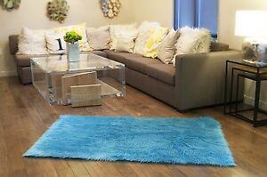 AQUA Faux fur area rug Shaggy Rug rectangle plush Sheepskin Bedroom living room
