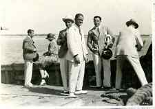 Group of tourists on board of a ship  Vintage silver print.  Tirage argentique