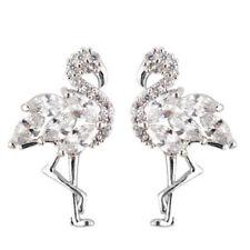 White Luxury Rhinestones Silver Flamingo Bird Summer Women Stud Earrings E1408